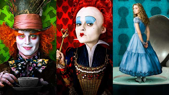 Tim-Burton-Alice-In-Wonderland hatter, red queen, alice